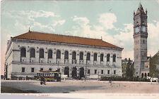 Postcard Boston MA Public Library UDB 1906 Bell Tower Tram Streetcar