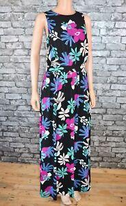 Women-039-s-Black-Floral-Print-Sleeveless-Long-Designer-Maxi-Dress-Size-10-Eu-38