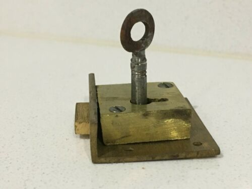 "1 1//2/"" x 1 1//4/"" BRASS TILL DRAWER LOCKS  4 LEVER complete with 1 cut key NOS"