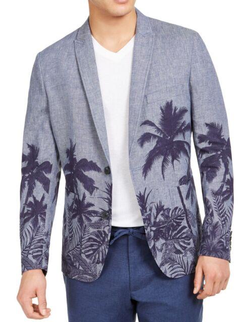 INC Mens Suit Jacket Blue Size XL Slim Fit Palm Tree Graphic Blazer $139 #024