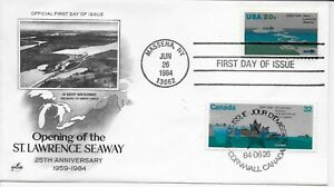 US-Scott-2091-First-Day-Cover-6-26-84-Massena-Dual-Cancel-St-Lawrence-Seaway