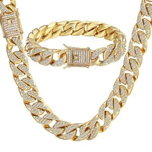 Mens-Curb-Cuban-Chain-Crystal-Necklace-Bracelet-Set-Y-Gold-Filled-Miami-Jewelry