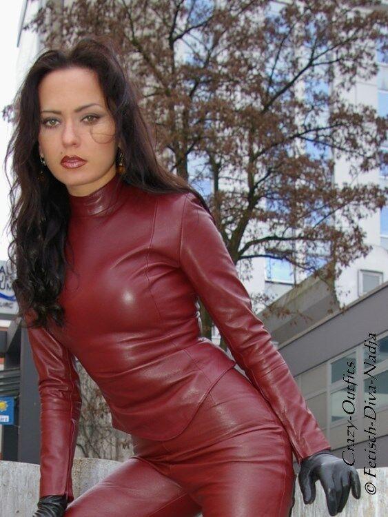 Ledertop cuero top Borgoña Zipper manga larga, hecha a  medida  al precio mas bajo