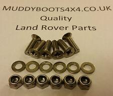 Land Rover Defender Bonnet Hinge stainless steel bolt set Cross Head 90 110 130