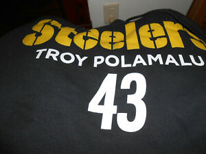 online store 430e7 ecfe3 Details about Vintage Troy Polamalu Pittsburgh Steelers XXL 2XL Hoodie  Pullover