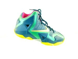 Nike-Lebron-11-XI-GS-T-Rex-Gamma-Green-Volt-Shoes-621712-300-size-5-5-Y