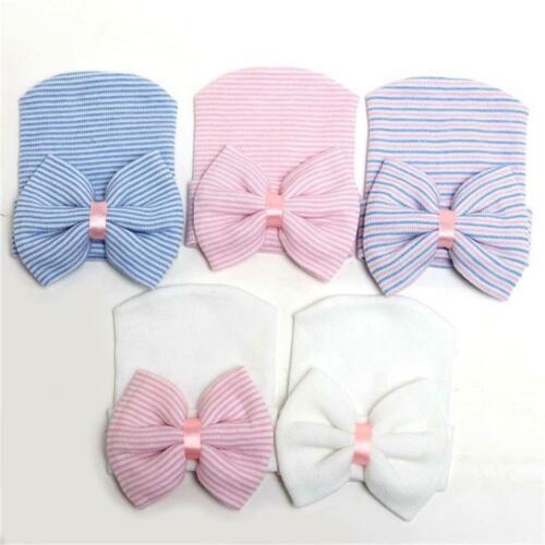 Lovely Newborn Baby Infant Toddler New Soft Bowknot Hospital Cap Beanie Hat
