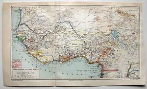 Karte-der-Kolonien-in-Guinea-Kamerun-Sudan-Dekorative-Lithographie-um-1895