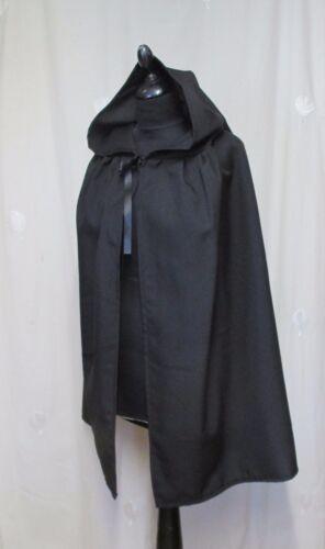 HALLOWEEN UK MADE GOTH BLACK HOODED CAPE//CLOAK    WICCA