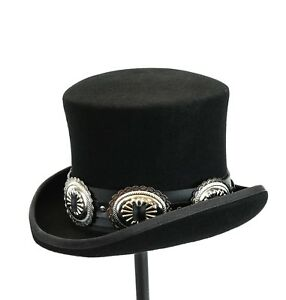 57afd3263 Details about Conch Wool Felt Top Hat Steampunk Topper Victorian Mad Hatter  Slash Leather Band