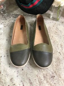 OluKai-Womens-US-11-EU-41-Casual-Lino-Leather-Slip-On-Flats-Olive-Green-Shoes