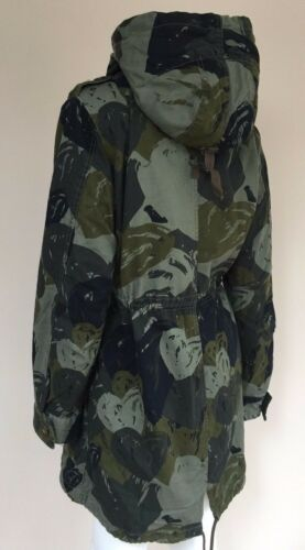 Desigual Heart 10 Uk Parka Camo Coat Khaki Hooded Lining Size Detachable With rrUqwgZ
