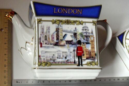 Britische London Tee Kanne Oldstyle mit London Motivdruck und Deckel