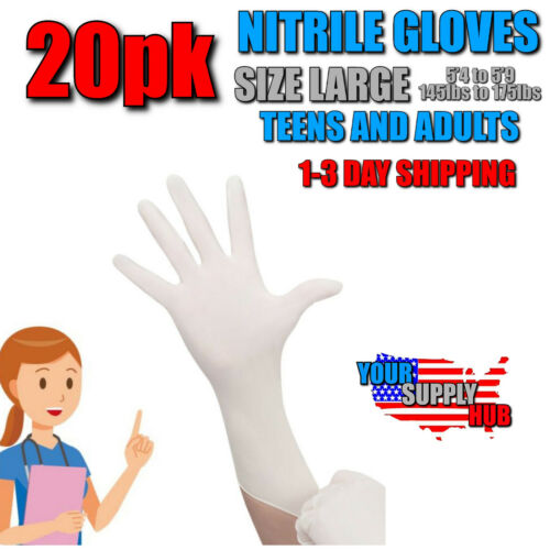 Non Latex White Gloves LARGE Nitrile Gloves 20 Pack Teens Adults  Powder Free
