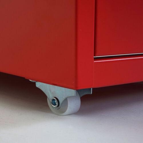 69x28x44cm 6 Schubladen rot Rollcontainer Preston T851 Stahlschrank