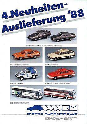 Kraftvoll Rietze Automodelle Prospekt 4. Neuheiten-auslieferung 1988 Modellautos Model Car