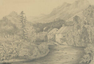 Mid 19th Century Graphite Drawing - Study of a Mill, Comrie