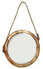 Large Hanging Natural Wood Round Mirror With Rope 56Cm