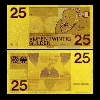 NETHERLANDS BANKNOTE 10 GULDEN 1968 REPLICA GOLD 24K