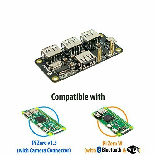 MakerSpot 4-Port Stackable USB Hub HAT for Raspberry Pi Zero V1.3 with 2.4A 1.5m