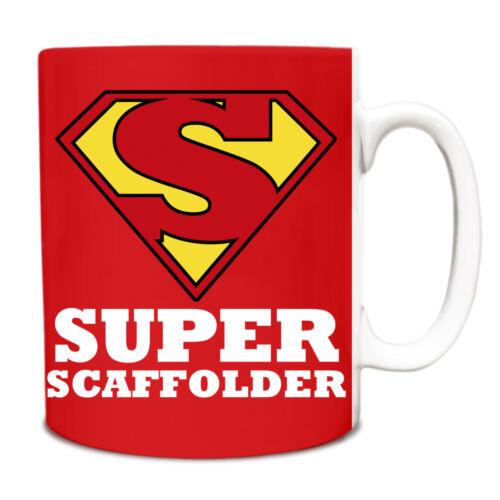 Red SUPER Scaffolder hero novelty job title mug funny 181