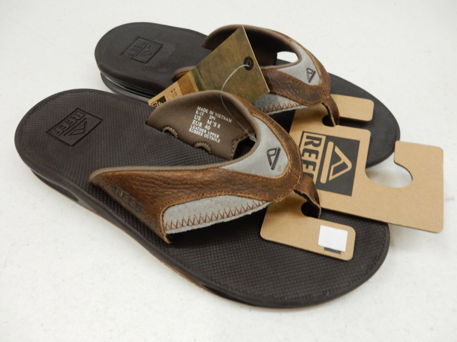 REEF Uomo SANDALS LEATHER FANNING BROWN BROWN SIZE 8