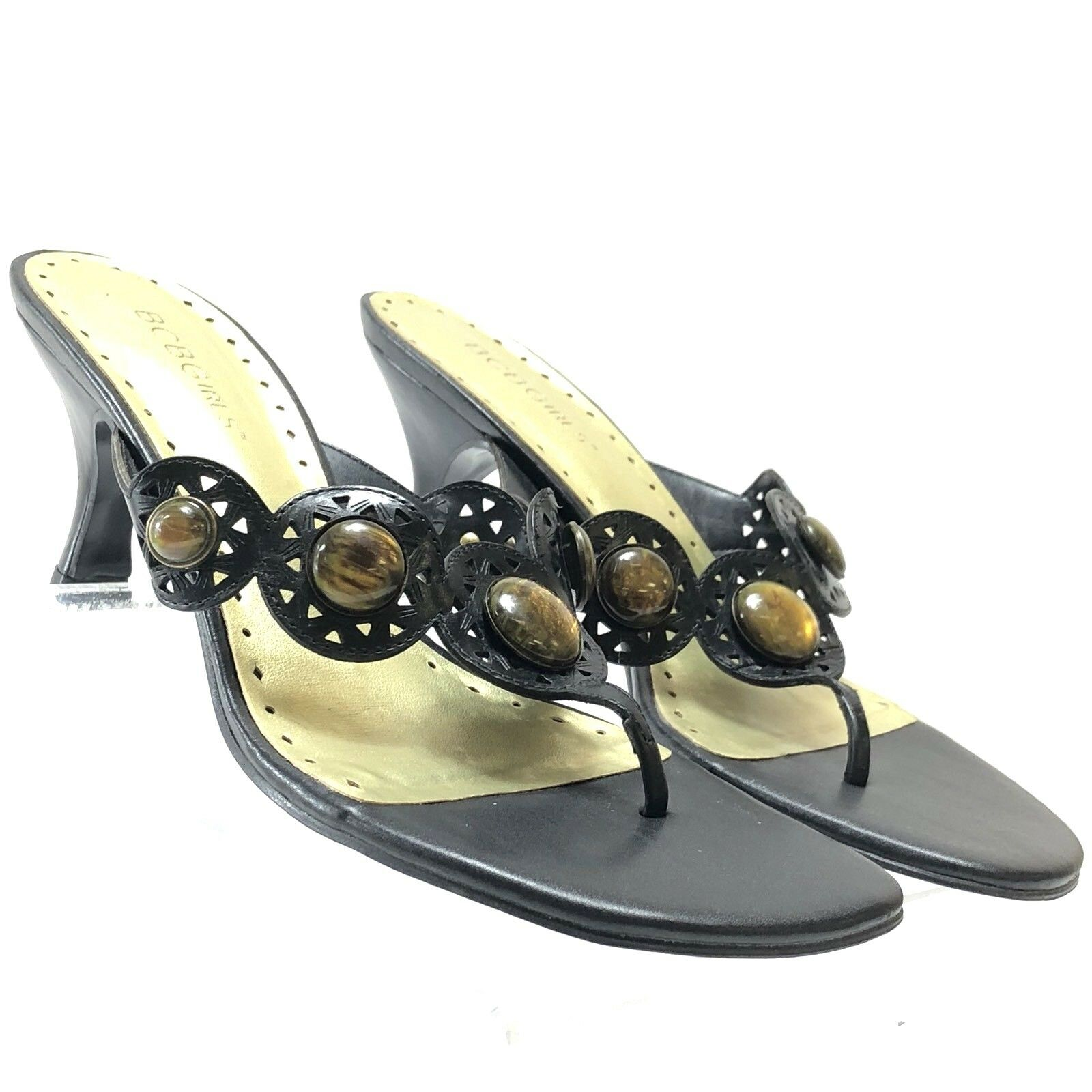 Women's BCBGIRLS Brown leather Thongs (c37) Embellished Sandals Size 7B (c37) Thongs ec6946