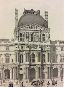 Large-Print-Paris-Pavilion-of-Louvre-Place-Napoleon-III-1866-Superb