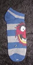 new men's Disney The Muppets Animal blue gray striped no show socks 10-13 1 pair