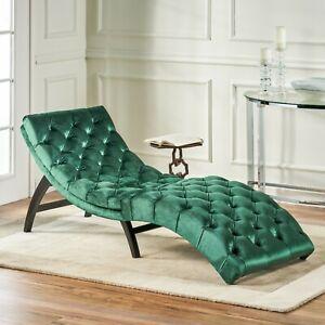 Grasby Tufted New Velvet Chaise Lounge Ebay