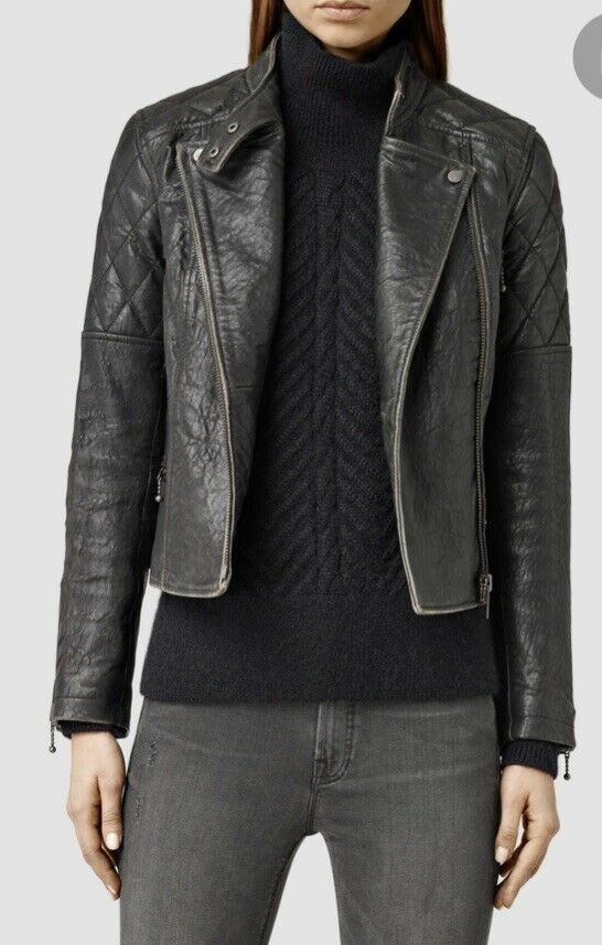 AllSaints Astor Leather Biker Jacket NWT Retail Price Size 2 NEW