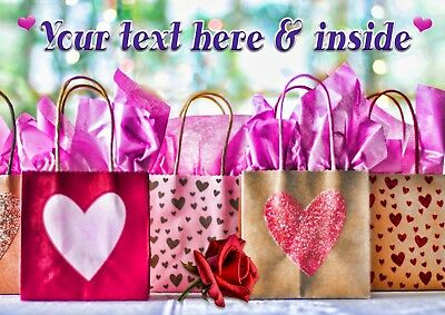 PERSONALISED FEMALE GIFT BAGS SHOPPING HEARTS BIRTHDAY MOTHERS DAY etc CARD