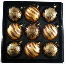 Pack of 9 Luxurious Gold/Bronze Christmas Tree Baubles - 80mm (PM391)