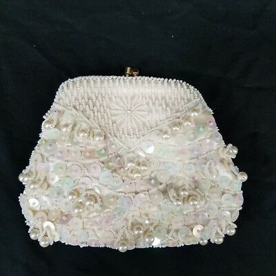 f0116101288c9 Details about Vintage Bead & Sequin White Ivory Evening Bag Small Clutch  Purse Wedding Prom