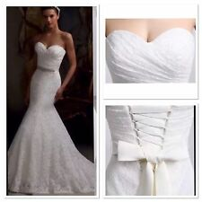 UK White/Ivory/Red/Green/Black Mermaid Lace Wedding Dress Bridal Gown Size 6-16