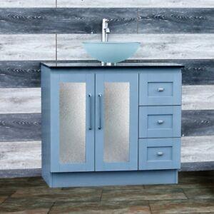 36 Bathroom Vanity 36 Inch Cabinet Black Top Glass Vessel Sink