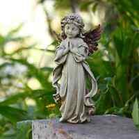 Angel Garden Decor Statue Cherub Praying Wings Girl Sculpture Outdoor Backyard