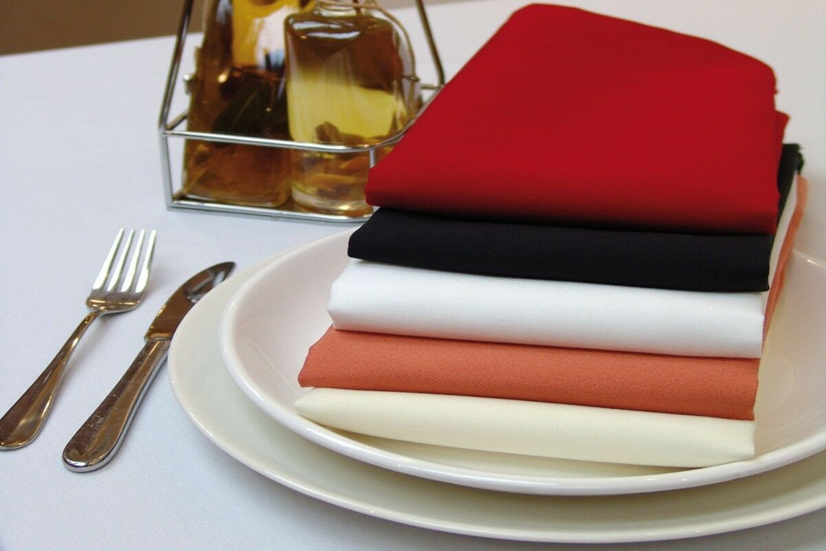 100 20  x 20  Polyester Napkins Wedding Party Event Catering 24 FarbeS USA SALE
