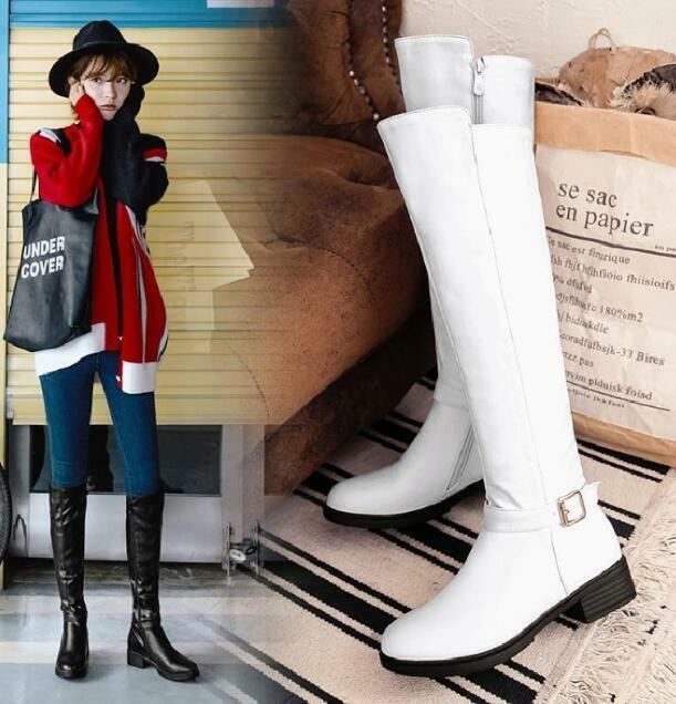 Womens Knee High Boots Side Zippers Block Heel Casual shoes Knight Boot Flats