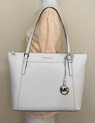 Michael Kors Ciara Large East West Top Zip Tote Saffiano Leather in White   eBay