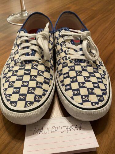 Vans Authentic Supreme Blue Checker Logo Size 10.5