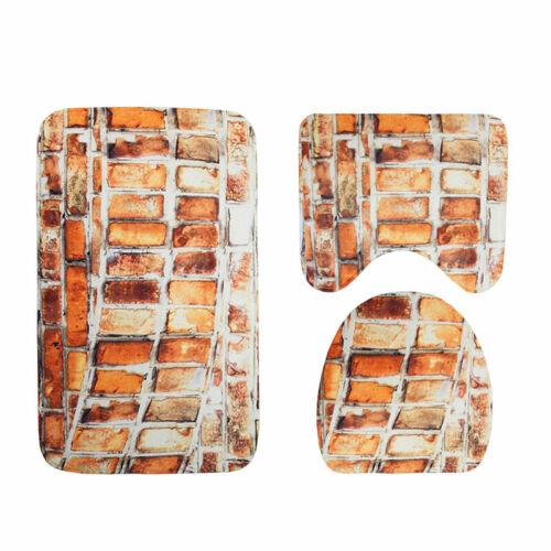 3 Piece Bathroom Contour Rug Set Soft Non-slip Toilet Lid Cover Carpet Bath Mat