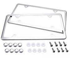 2pcs Slim Chrome Stainless Steel License Plate Frame Screw Cap Slim 4 Hole Cf 2