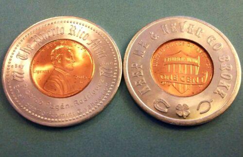 2015 PUERTO RICO MINT /& KEEP ME /& NEVER GO BROKE Encased Lucky Penny Anillado