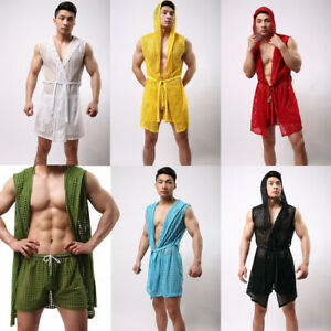 Men-039-s-Night-Robe-Sleeveless-Hooded-Bathrobe-Summer-Nightgowns-Sleepwear-Hollow
