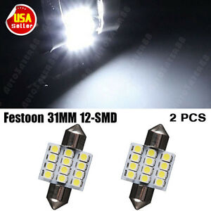 2X-31MM-Festoon-12SMD-LED-Interior-Dome-License-Light-lamp-Bulb-3021-6428-DE3175
