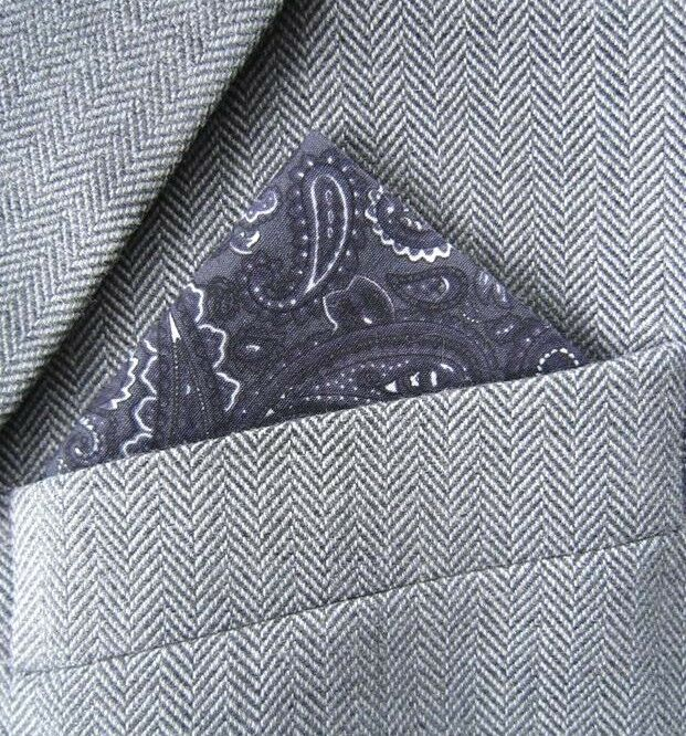 SUPERNOVA Grey Paisley Pocket Square Handkerchief Mod 60s Dapper Crombie Suit
