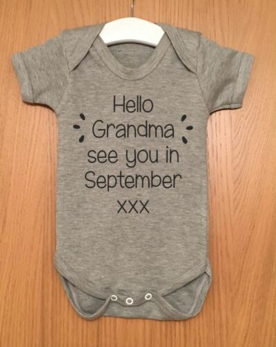 HELLO DADDY SEE YOU IN BABY ANNOUNCEMENT GRANDAD GRANDMA NANA GENDER REVEAL