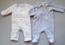 Janie and Jack SNOW OWL Boys 0 3 Mo Rompers Lot EUC Reversible Snowy Blue
