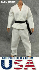 """1/6 Scale Judo Gi White Uniform Kung Fu Suit For 12"""" Male Figure - U.S.A. SELLER"""